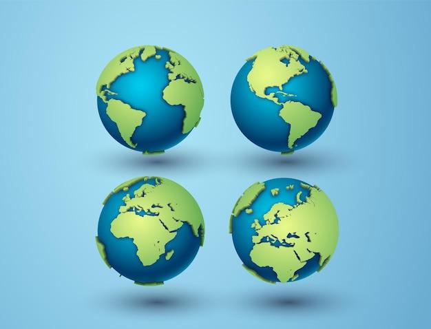 Paquete de globos terráqueos y américa, áfrica, europa