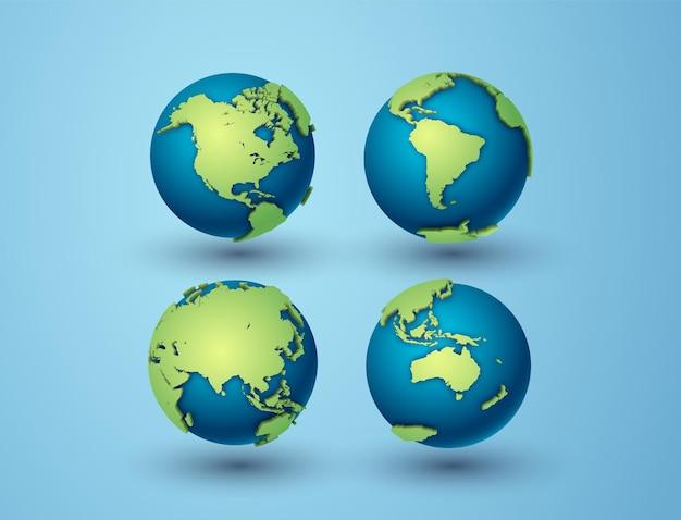 Paquete de globos terráqueos con asia, américa del norte, américa del sur, australia