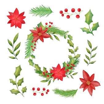 Paquete de guirnalda de navidad acuarela