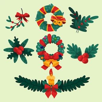 Paquete de guirnaldas y flores navideñas dibujadas a mano