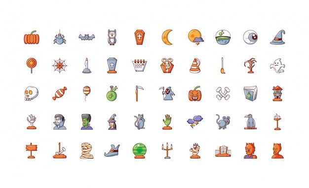 Paquete de halloween con conjunto de iconos