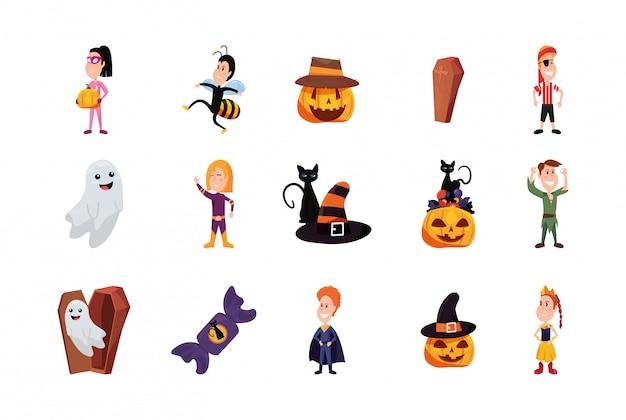 Paquete halloween con niños disfrazados