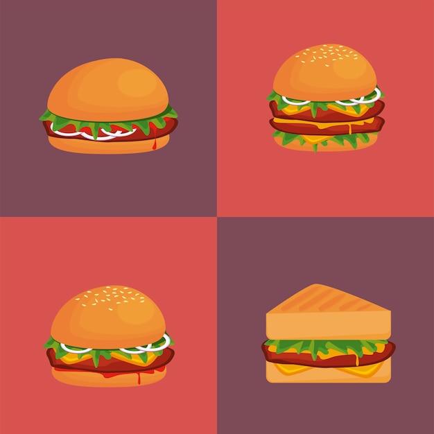 Paquete de hamburguesas y sándwich deliciosa comida rápida iconos ilustración