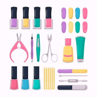 Paquete de herramientas de manicura de diseño plano