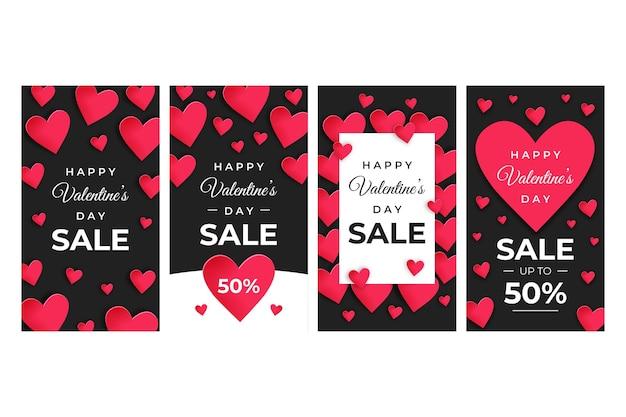 Paquete de historia de venta del día de san valentín
