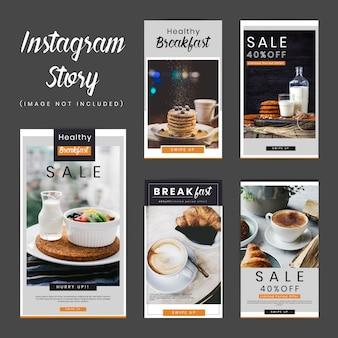 Paquete de historias de desayuno en redes sociales