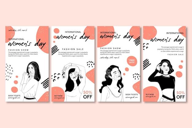 Paquete de historias de instagram del día internacional de la mujer