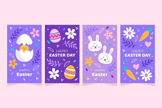 Paquete de historias de instagram del día de pascua púrpura