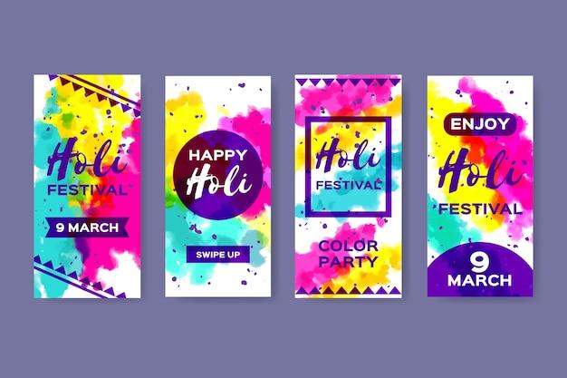 Paquete de historias de instagram del festival holi