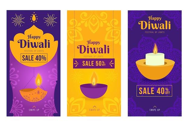 Paquete de historias de instagram de rebajas de diwali