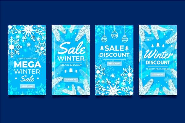 Paquete de historias de instagram de rebajas de invierno de diseño plano