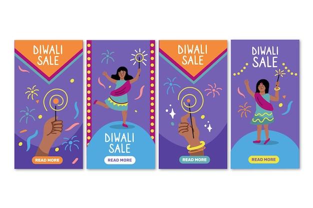 Paquete de historias de instagram de venta de eventos de diwali
