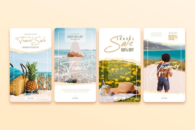 Paquete de historias de instagram de venta de viajes