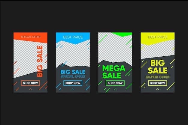 Paquete de historias de instagram de ventas coloridas