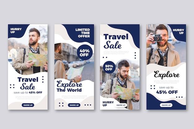 Paquete de historias de instagram de viajes de diseño plano