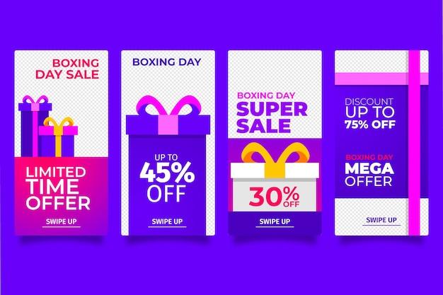 Paquete de historias de redes sociales de la venta del día del boxeo