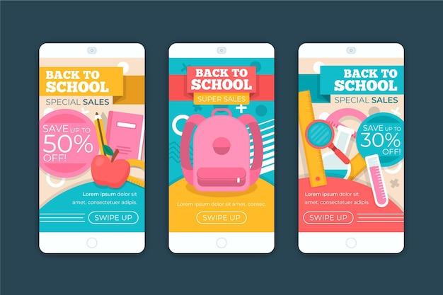 Paquete de historias con el tema de regreso a la escuela