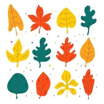Paquete de hojas de otoño dibujadas a mano
