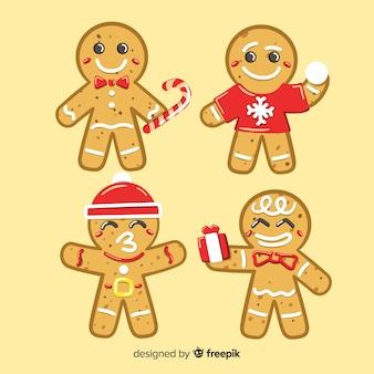 Paquete hombre pan de jengibre navideños en distintas posiciones