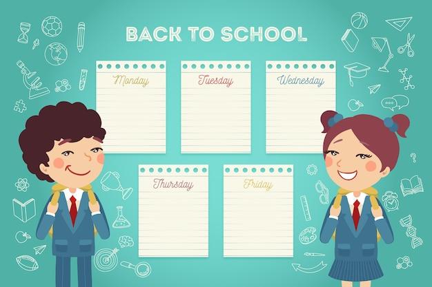 Paquete de horario de regreso a clases de color