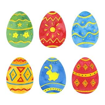 Paquete de huevos de acuarela del día de pascua