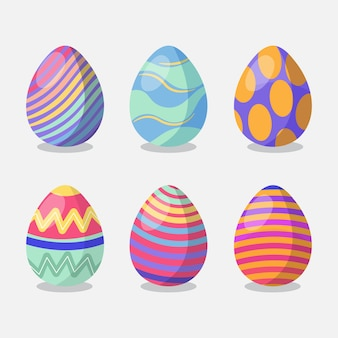 Paquete de huevos pintados del día de pascua plano