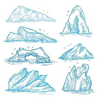 Paquete de iceberg dibujado a mano