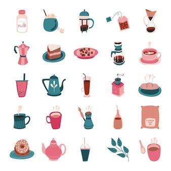 Paquete de icono de estilo de forma libre de café y té