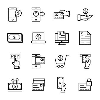 Paquete de icono de línea de finanzas
