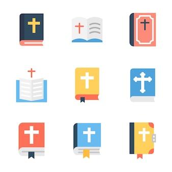 Paquete de icono plano de la biblia
