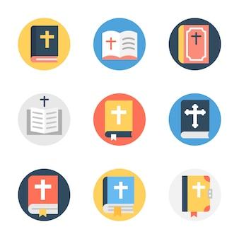 Paquete de icono redondeado plano de la biblia
