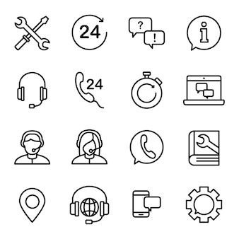 Paquete de iconos de atención al cliente, estilo de icono de esquema