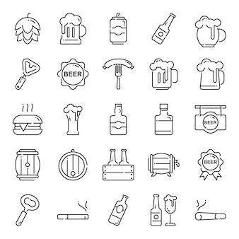 Paquete de iconos de cerveza, con estilo de icono de contorno