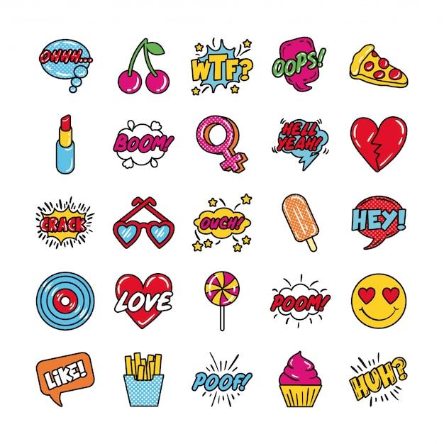 Paquete de iconos de conjunto de arte pop