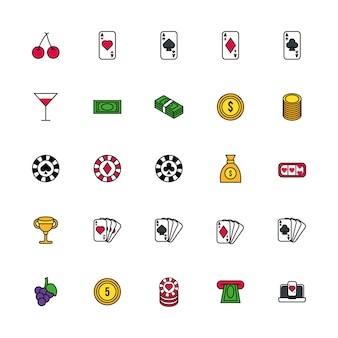 Paquete de iconos de conjunto de casino