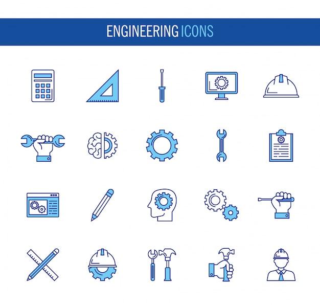 Paquete de iconos de conjunto de ingeniería