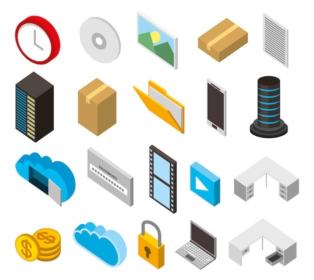 Paquete de iconos de conjunto isométrico de almacenamiento del centro de datos