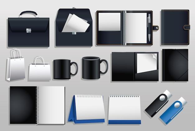 Paquete de iconos de conjunto de maquetas en fondo gris, diseño de ilustraciones vectoriales