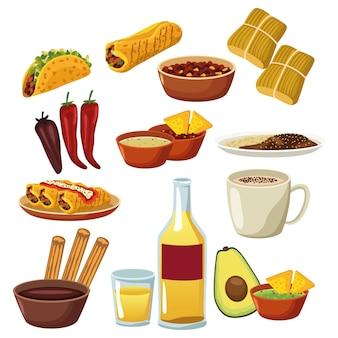 Paquete de iconos de conjunto de menú de comida mexicana.