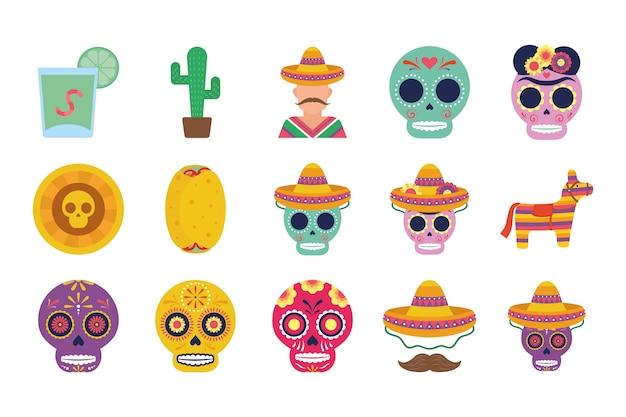 Paquete de iconos de conjunto mexicano