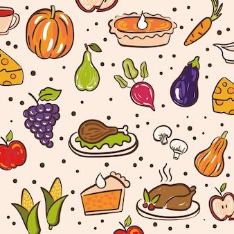 Paquete de iconos de conjunto de patrones del día de acción de gracias