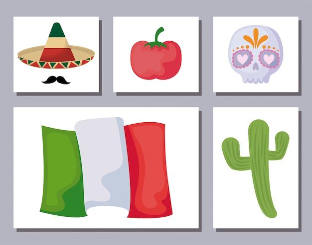 Paquete de iconos conjunto tradicional mexicano