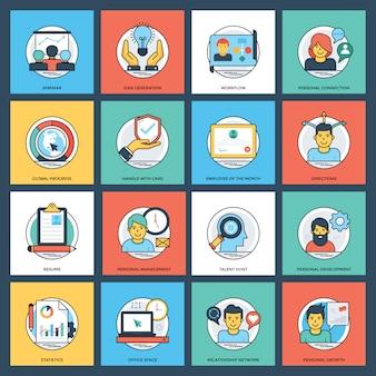 Paquete de iconos creativos planos de negocios