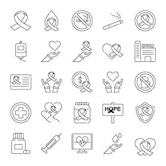Paquete de iconos para el cuidado del cáncer, con estilo de icono de esquema