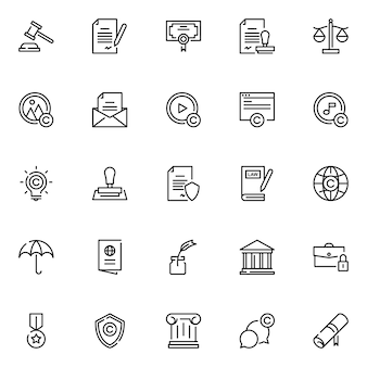 Paquete de iconos de derecho legal, con estilo de icono de esquema