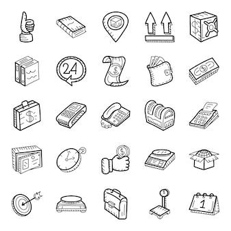 Paquete de iconos dibujados a mano de entrega de paquetes y finanzas