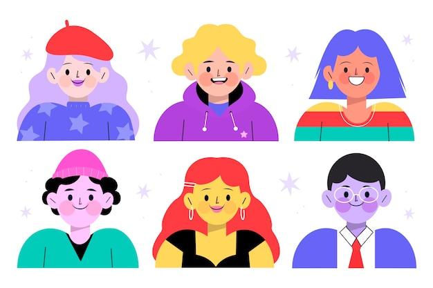 Paquete de iconos de diferentes perfiles dibujados a mano