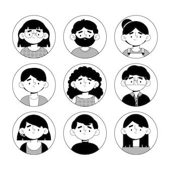 Paquete de iconos de diferentes perfiles de diseño plano