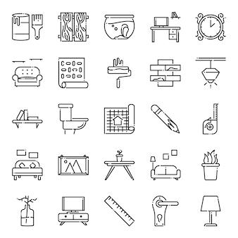 Paquete de iconos de diseño de interiores, con estilo de icono de contorno