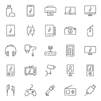 Paquete de iconos de dispositivos electrónicos, con estilo de icono de esquema
